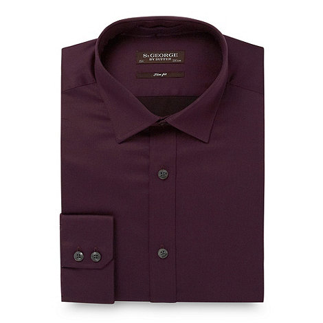 St George by Duffer - Dark purple slim fit plain sateen shirt