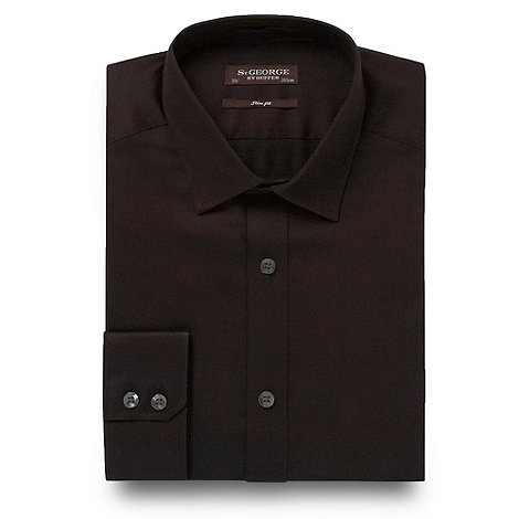St George by Duffer - Big and tall black plain sateen shirt