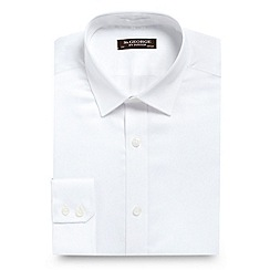 St George by Duffer - Big and tall white slim fit plain sateen shirt