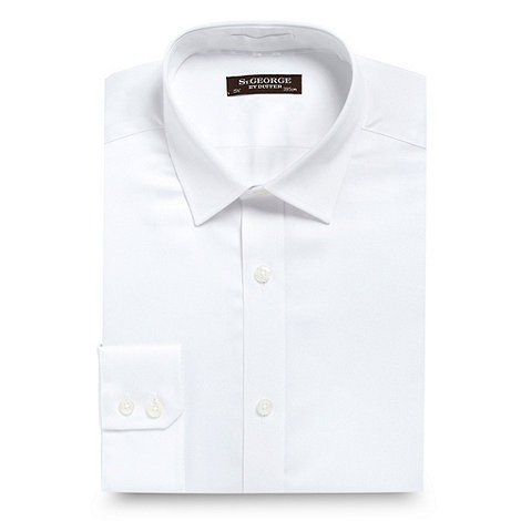 St George by Duffer - white slim fit plain sateen shirt