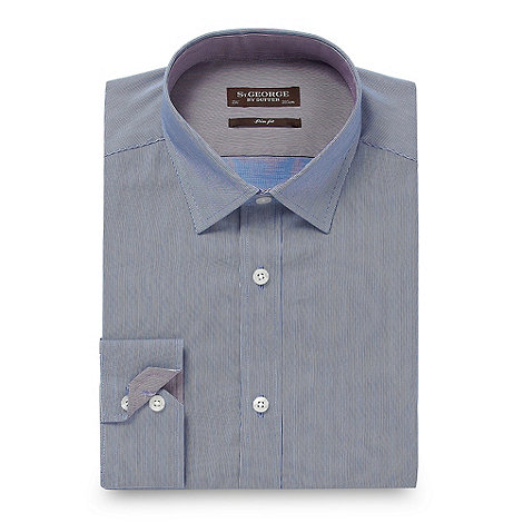 St George by Duffer - Blue fine striped slim fit shirt