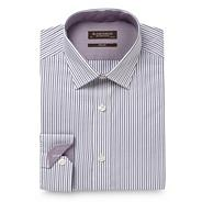 White slim fitting textured striped shirt