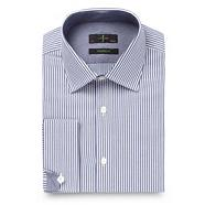 Big and tall navy tailored fit textured striped shirt