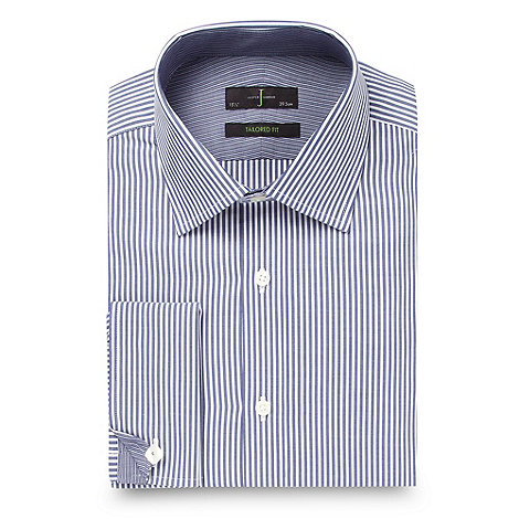 J by Jasper Conran - Big and tall navy tailored fit textured striped shirt