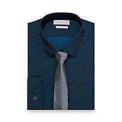 Red Herring - Dark navy tonic sheen slim fit shirt and tie set