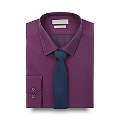 Red Herring - Big and tall purple slim fit shirt and skinny tie set