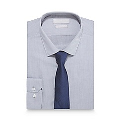 Red Herring - Big and tall grey slim fit shirt and spotted tie set