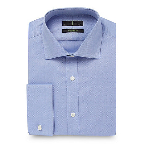 J by Jasper Conran - Designer Blue tailored fit textured plain shirt