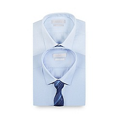 Red Herring - Pack of two plain blue and dotted textured slim fit shirts with a tie