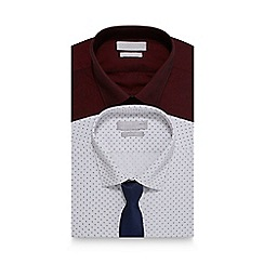 Red Herring - Big and tall pack of two red printed slim fit shirt and tie set