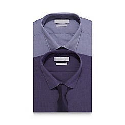 Red Herring - Pack of two purple gingham print slim fit shirt and tie set