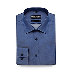 Hammond & Co. by Patrick Grant - Navy herringbone print tailored fit shirt
