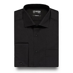 The Collection - Big and tall black easy care regular fit shirt with extra-long sleeves and body