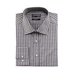 The Collection - Big and tall grey checked print tailored fit shirt with extra-long sleeves and body