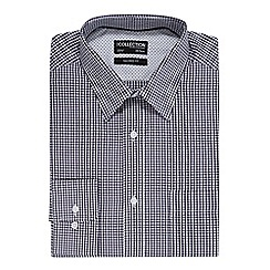The Collection - Navy gingham print tailored fit shirt with extra long sleeves and body