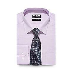 The Collection - Big and tall purple button down shirt and dotted tie