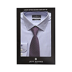 Jeff Banks - Light blue striped tailored fit shirt and purple tie set