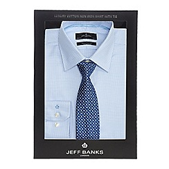 Jeff Banks - Big and tall light blue dogtooth tailored fit shirt and blue teardrop tie set