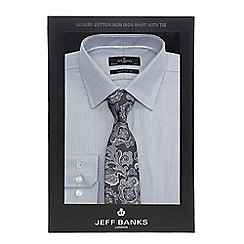 Jeff Banks - Grey textured tailored fit shirt and paisley tie set