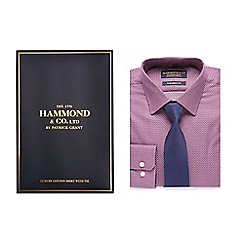 Hammond & Co. by Patrick Grant - Big and tall dark red geometric patterned shirt and navy polka dot tie set