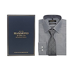 Hammond & Co. by Patrick Grant - Grey herringbone patterned tailored fit shirt and patterned tie
