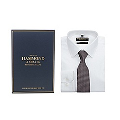 Hammond & Co. by Patrick Grant - Big and tall white tailored fit shirt and dark red chevron tie set