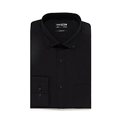 The Collection - Big and tall black long sleeve button down shirt