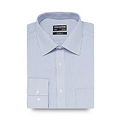 The Collection - Big and tall white and blue striped tailored fit shirt