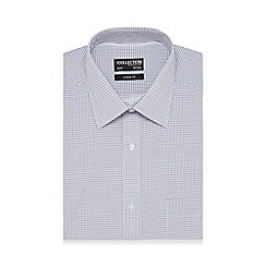 The Collection - Big and tall white mini grid print shirt