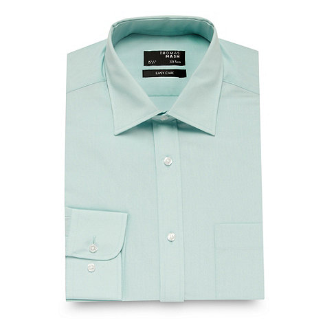 Thomas Nash - Big and tall aqua plain long sleeved shirt