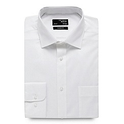 Thomas Nash - White textured striped long sleeved shirt