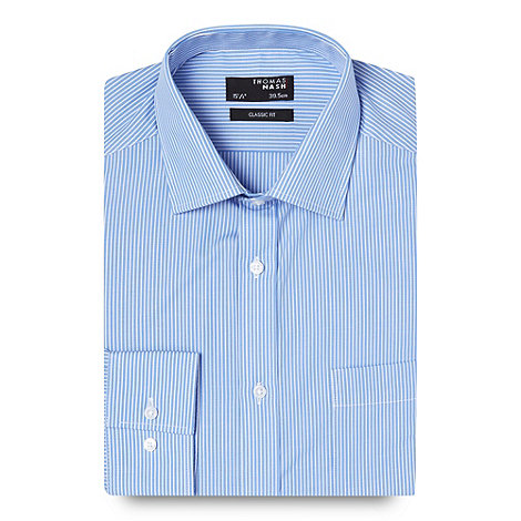 Thomas Nash - Big and tall blue fine striped shirt