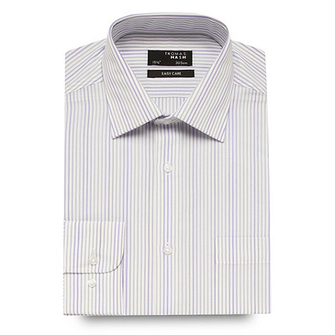 Thomas Nash - Purple tonal striped long sleeved shirt