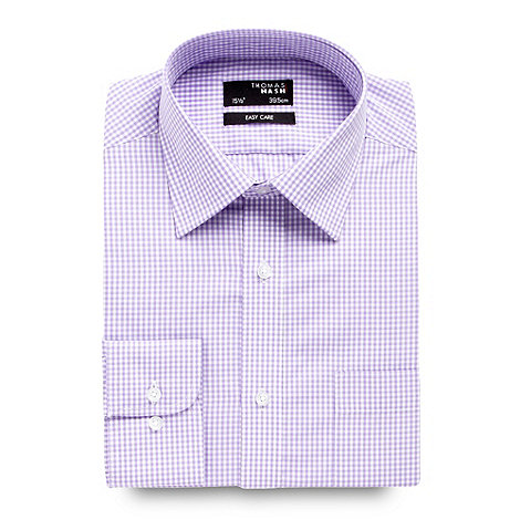 Thomas Nash - Big and tall lilac gingham checked long sleeved shirt