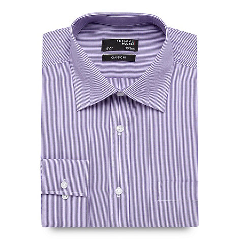 Thomas Nash - Lilac striped regular fit shirt