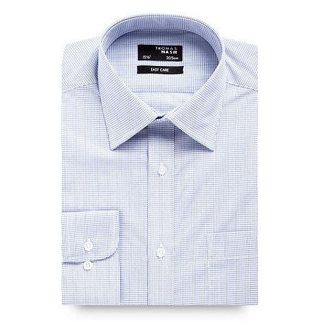 Thomas Nash - Blue grid checked long sleeved shirt