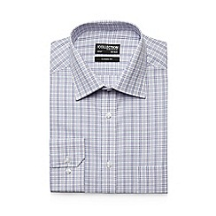 The Collection - Big and tall purple check print button down shirt