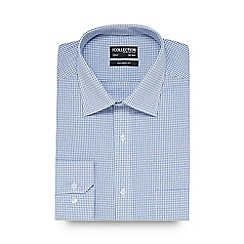 The Collection - Big and tall blue mini checked tailored shirt