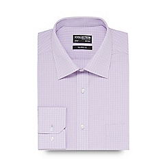 The Collection - Big and tall lilac checked print tailored fit shirt