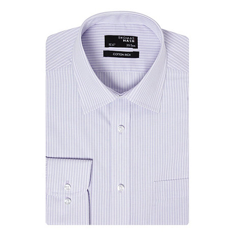 Thomas Nash - Lilac textured striped long sleeved shirt