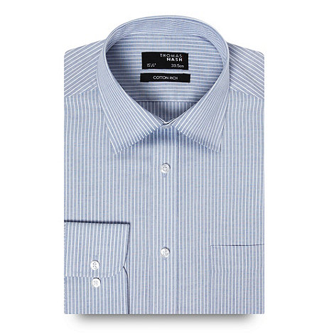 Thomas Nash - Blue textured striped long sleeved shirt