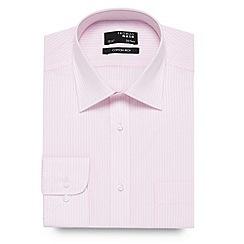 Thomas Nash - Pink textured striped long sleeved shirt