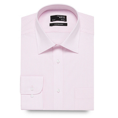 Thomas Nash - Pink textured striped long sleeved shirt