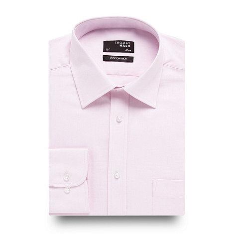 Thomas Nash - Big and tall pink twill long sleeved shirt