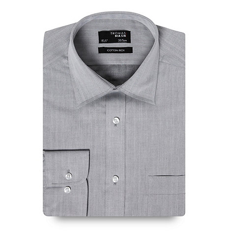 Thomas Nash - Grey herringbone striped long sleeved shirt