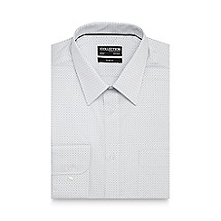 The Collection - Big and tall white cross print slim fit shirt