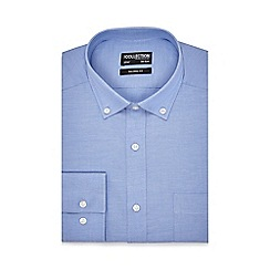 The Collection - Big and tall blue button down tailored fit shirt