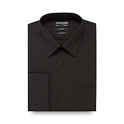 The Collection - Big and tall black cotton stretch slim fit shirt
