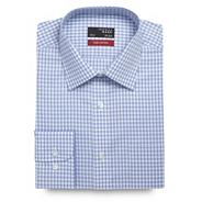 Big and tall light blue gingham checked long sleeved cotton shirt