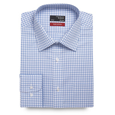 Thomas Nash - Light blue gingham checked long sleeved cotton shirt